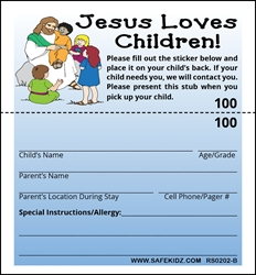 "2-Part Stock ""Jesus Loves Children"" - Pack of 200 Blue"
