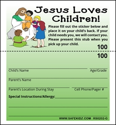 "2-Part Stock ""Jesus Loves Children"" - Pack of 200 Green"