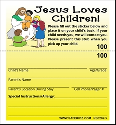"2-Part Stock ""Jesus Loves Children"" - Pack of 200 Yellow"