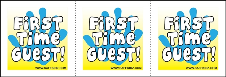 """First Time Guest"" Stickers - Pack of 200"