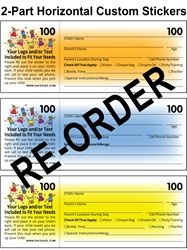 Re-Order Horizontal 2-Part Check-In & Security Stickers - Box of 800