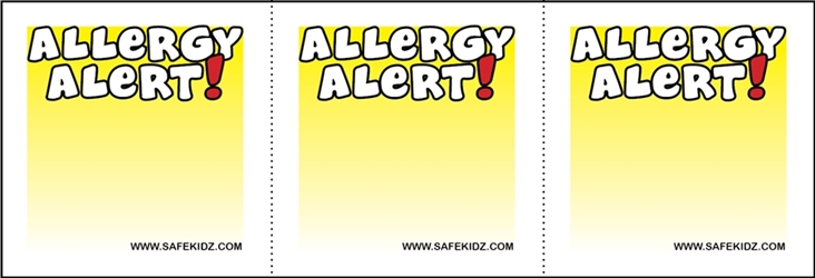 """Allergy Alert"" Stickers - Pack of 200"